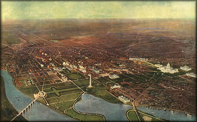 Aerial view of Washington DC in 1916