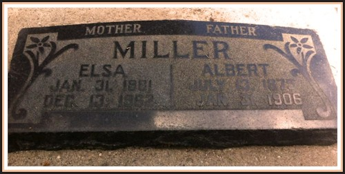 Grave Stone of Albert and Elsa Miller