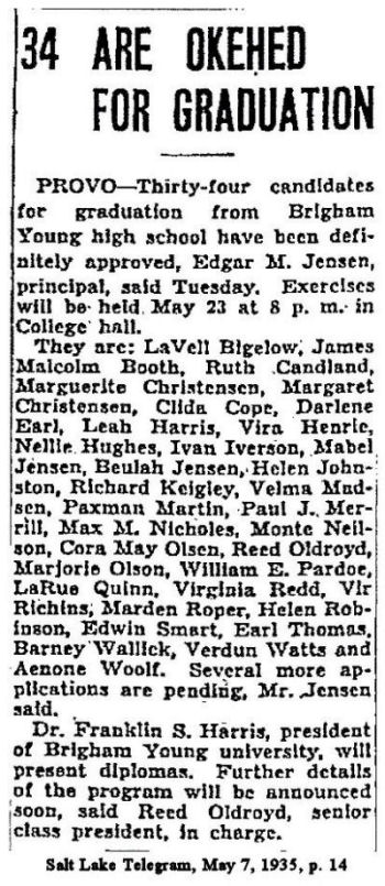 BYH Class of 1935, Salt Lake Telegram, May 7, 1935