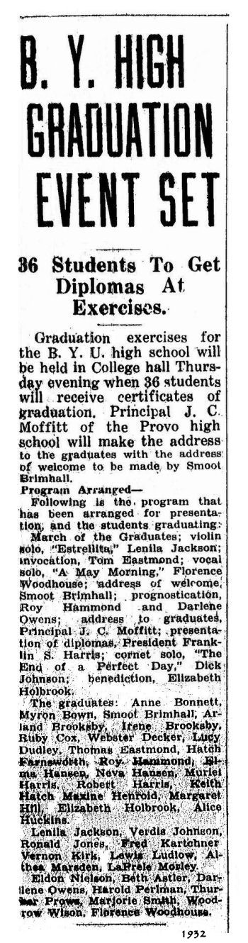 BYH Class of 1932, The Evening Herald, Provo, Utah