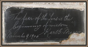 Karl G. Maeser's handwriting on a chalkboard 1900