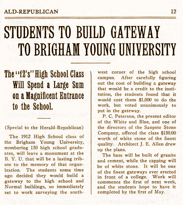 Brigham Young High School Class of 1912 - Gate