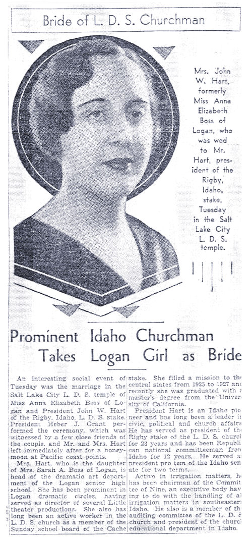 Hart Wedding:Salt Lake Tribune, June 9, 1935