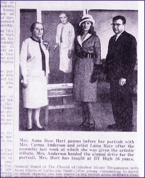 News Clipping Re:Anna B. Hart PortraitBYH