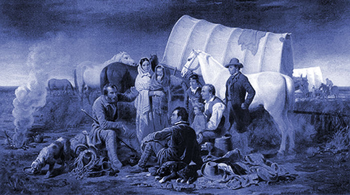 Mormon pioneers on the trail west