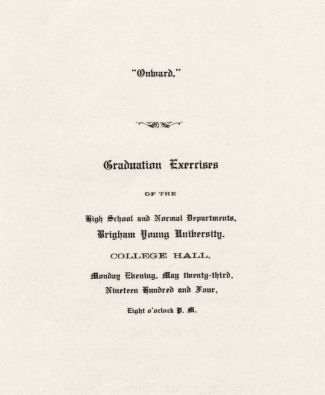 Brigham Young High School 1904 Grad Program 2
