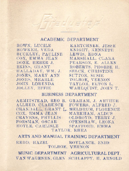 BYH Class of 1918 Graduation Program 2