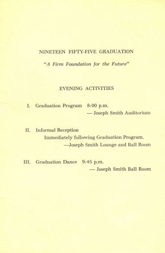Brigham Young High School 1955 Grad Program 2