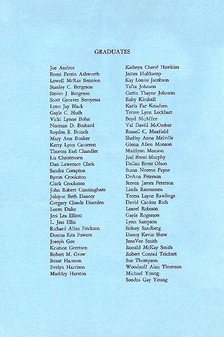 1967 BYH Graduation Program 2-Names