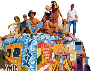1960s counter-culture hippies and van