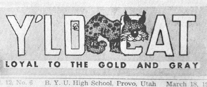 Y'd Cat student newspaper masthead mid-1950s
