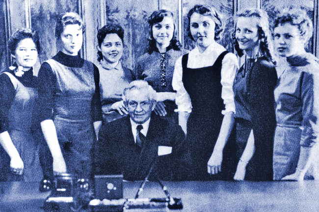 Pres. David O. McKay with women on BYH yearbook 57