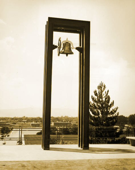 Old BYU Bell above George Albert Smith Fieldhouse