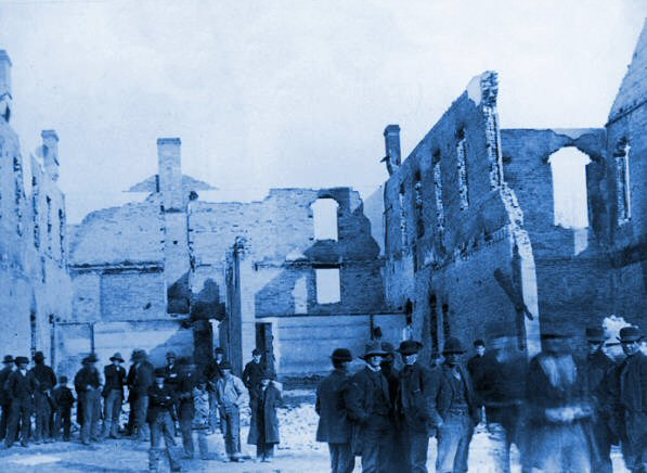 After 1884 fire at BY Academy's Lewis Hall